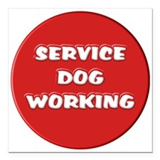 "SERVICE DOG WORKING Square Car Magnet 3"" x 3"""