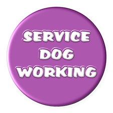 SERVICE DOG WORKING PURPLE Round Car Magnet