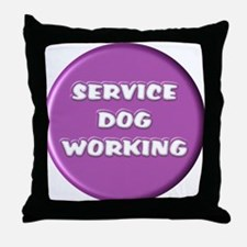 SERVICE DOG WORKING PURPLE Throw Pillow