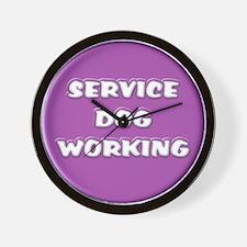 SERVICE DOG WORKING PURPLE Wall Clock
