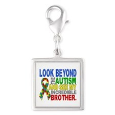 Look Beyond 2 Autism Brother Silver Square Charm