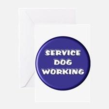 SERVICE DOG WORKING BLUE Greeting Cards