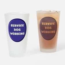 SERVICE DOG WORKING BLUE Drinking Glass