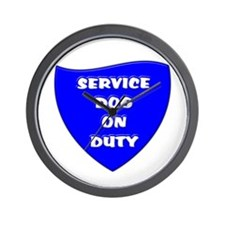 SERVICE DOG ON DUTY BLUE Wall Clock