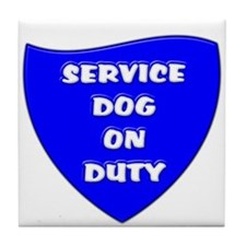 SERVICE DOG ON DUTY BLUE Tile Coaster