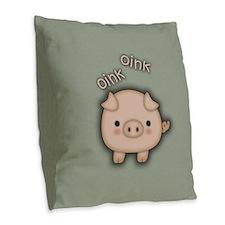 Cute Pink Pig Oink Burlap Throw Pillow