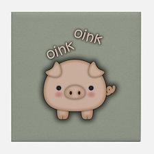 Cute Pink Pig Oink Tile Coaster
