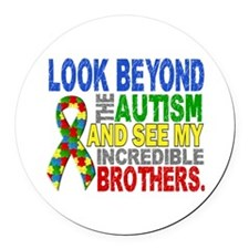 Look Beyond 2 Autism Brothers Round Car Magnet