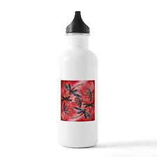 Dragonflies Tangerine Sky Sports Water Bottle