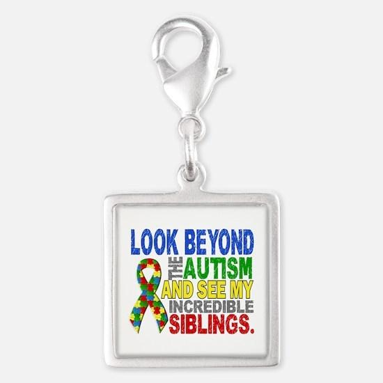 Look Beyond 2 Autism Siblings Silver Square Charm