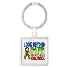 Look Beyond 2 Autism Siblings Square Keychain