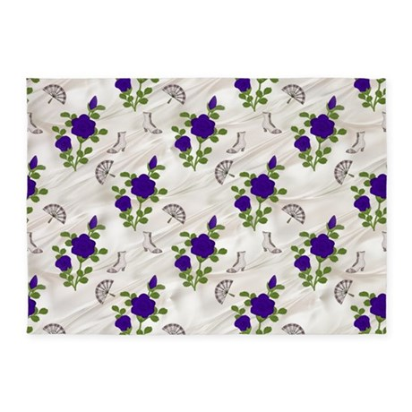 Vintage Purple Roses 5'x7'area Rug