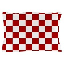 Bold Red and White Checkerboard Pillow Case