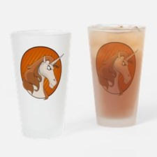 Angry Pink Unicorn  Drinking Glass