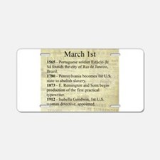 March 1st Aluminum License Plate