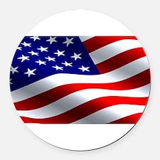 US Flag Round Car Magnet