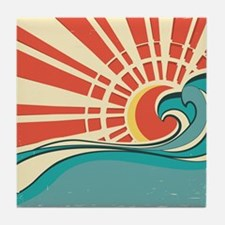 wave at dawn Tile Coaster
