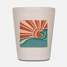 wave at dawn Shot Glass