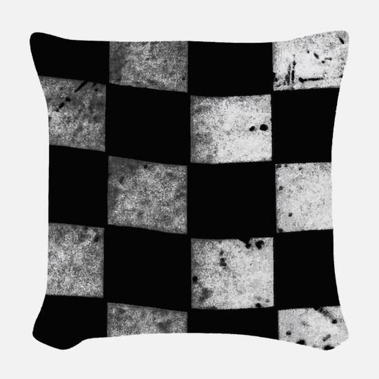 Checkered Flag Woven Throw Pillow