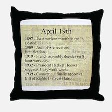 April 19th Throw Pillow