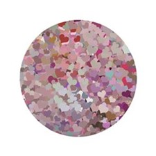 "Pink Confetti Hearts 3.5"" Button"