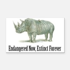 Endangered Rhinoceros Rectangle Car Magnet
