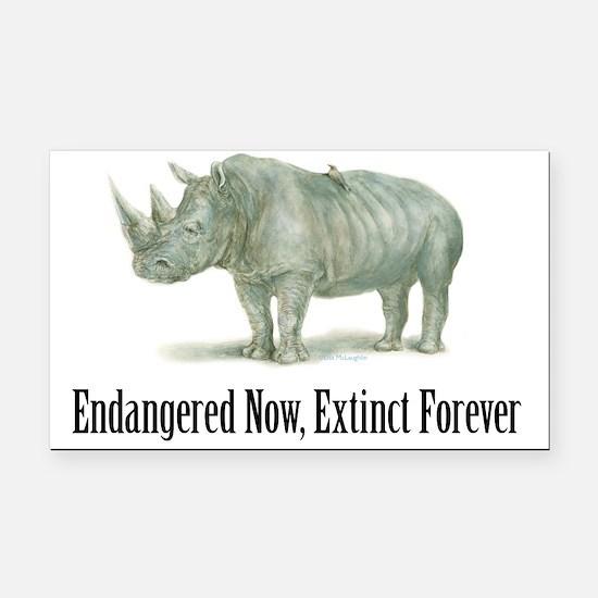Endangered Rhinoceros Rectangle Car Magnet