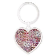 Pink Confetti Hearts Keychains
