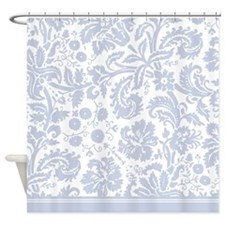 Baby Blue Damask Shower Curtain