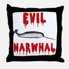 Evil Narwhal Throw Pillow