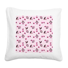 Pink Pampered Penguin Square Canvas Pillow