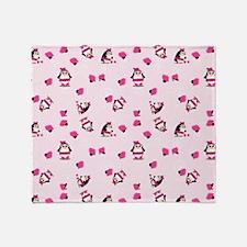 Pink Pampered Penguin Throw Blanket