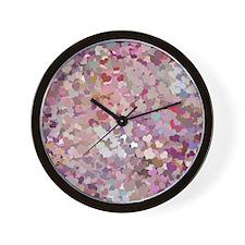 Pink Confetti Hearts Wall Clock