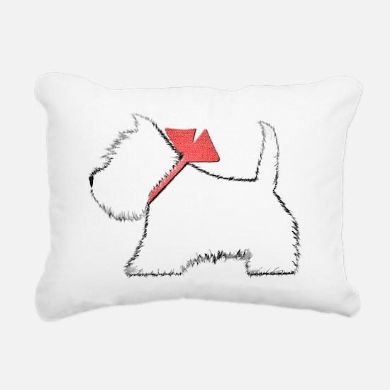 Cute Westie Dog Art Rectangular Canvas Pillow