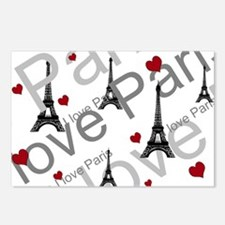 Trendy I LOVE PARIS Postcards (Package of 8)