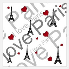 Trendy I LOVE PARIS 5.25 x 5.25 Flat Cards