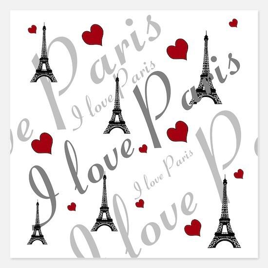 Trendy I LOVE PARIS 5.25 x 5.25 Flat Cards