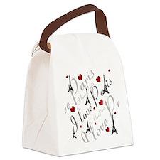 Trendy I LOVE PARIS Canvas Lunch Bag