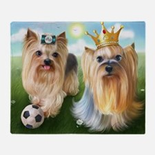 Yorkie Queen and Player Throw Blanket