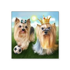 """Yorkie Queen and Player Square Sticker 3"""" x 3"""""""