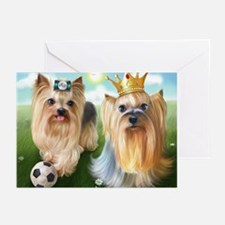 Yorkie Queen and Player Greeting Cards (Pk of 20)