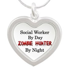 Social Worker/Zombie Hunter Silver Heart Necklace