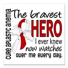 "Bravest Hero I Knew Apla Square Car Magnet 3"" x 3"""