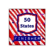 "50 States Finisher Square Sticker 3"" x 3"""