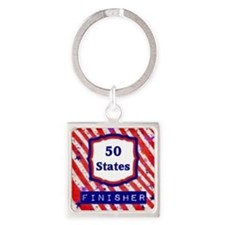 50 States Finisher Square Keychain