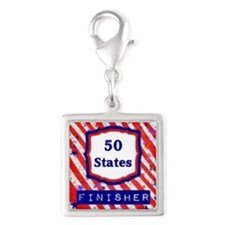 50 States Finisher Silver Square Charm