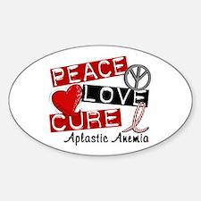 Peace Love Cure 1 Aplastic Anemia Sticker (Oval)