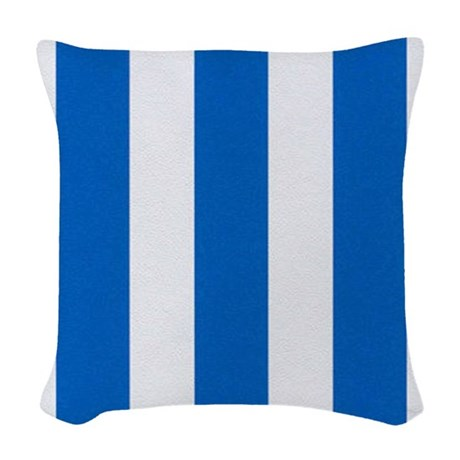 Woven Blue Throw Pillow : Bold Blue Stripes Woven Throw Pillow by stripstrapstripes
