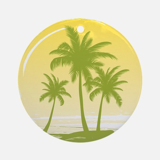 Green Palm Tree Ornament (Round)