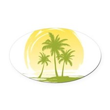 Green Palm Tree Oval Car Magnet